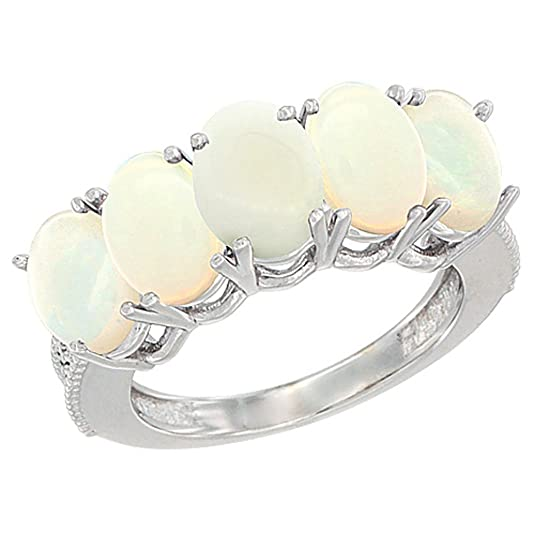 Revoni 14ct White Gold Natural Opal 0.46 ct. Oval 7x5mm 5-Stone Mother's Ring with Diamond Accents