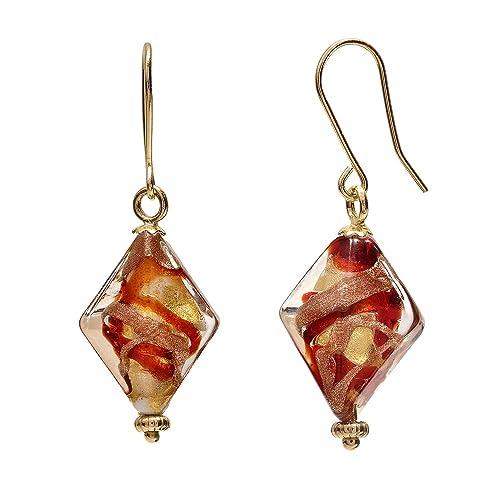 14K Yellow Gold Red Murano Glass Diamond Shaped Earrings