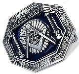 bu00 フリーメイソン シンボル グレイ×ブルー 都市伝説 アメカジ,ウエスタン インテリア ベルト用バックル