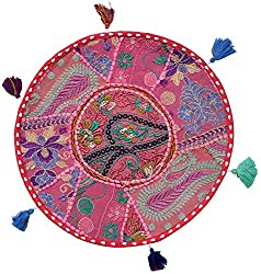 Handmade Khambadia round Cushion cover vintage gaddi throw boho bohemian pillow embroidered pillow couch cover floor cushion cu2201