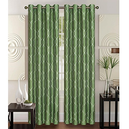 """Kashi Home Faux Silk Geometric Embroidered Decorative Curtain Panel with Grommets, Rita 55""""x84"""", Single Panel (Sage)"""