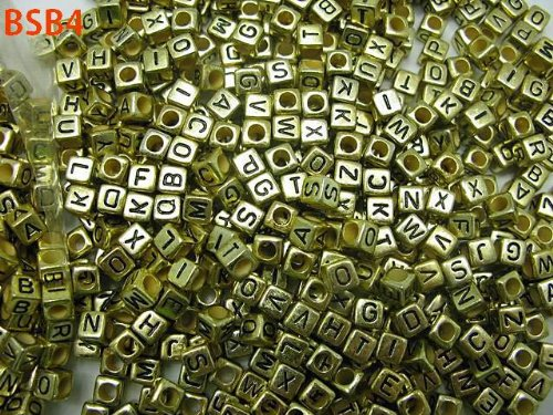 Aokeshen Wholesale Mixed 250pcs 50g Gold Charm Cube Acylic Alphabet Black Letters Craft Spacer Beads Fit DIY Jewelry 6MM 10g