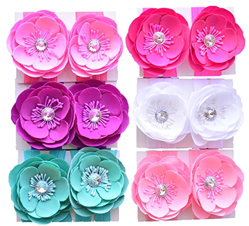 "Qandsweet 6 Pairs Baby Girl's Barefoots Sandals Crystal Flower Feet Accessories (6 Colors) (3"" Flowers)"