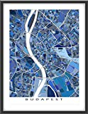 Budapest Map Print, Hungary Europe Wall Poster, Buildings Art