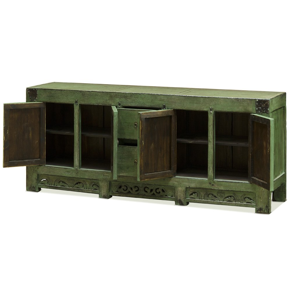 China Furniture Online Tang Style Buffet Cabinet, Solid Elm with Distressed Green Finish 1