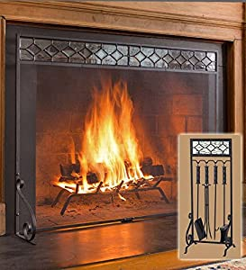 small diamond glass flat guard fireplace