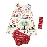 Baby Girl Clothes, FEITONG Toddler Infnt Baby Girls Woodlands Dress+ Shorts+ Headband Outfits Clothes Set (24 Months, Multicolor(Dress))