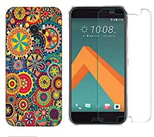 Snoogg Abstract Multicolor Floral Combo Designer Protective Back & Shatter Proof Tempered Glass For HTC DESIRE 10 LIFESTYLE