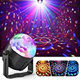 Party Ball Lights, Gvoo 5W RGB LED Sound Activated Rotating Crystal DJ Disco Lights Stage Lights with Remote Control for Party, KTV, Wedding, Bar and Celebration (Color: black)