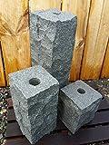 3 Quell Steine Säulen für Wasserspiel Steinbrunnen 15 / 25 / 40 cm GRANIT