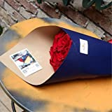 BBC Korean Style Double Colors Craft Paper Flower Bouquet Wrapping Paper Floral Wraps Supplies, 20 Sheets, 23.6x23.6 inch (Blue) (Color: E)