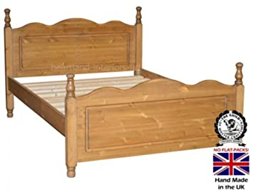 """Solid Pine Bed frame, Handcrafted & Waxed Harvest Bedstead. Various Sizes, (D4FT610) Choice of Colours. Free onsite Assembly! (4ft 6"""" Double)"""