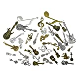 Kinteshun Music Elements Charm Alloy Multistyle Musical Instrument Notes Symbols Pendant Connector for DIY Jewelry Making Accessaries(38pcs,Antique Silver&Bronze Tone) (Color: Music Elements)
