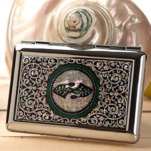 Mother of Pearl Double Crane Bird 14 Cigarette Engraved Metal Steel RFID Blocking Protection Credit Business Card Holder Case Storage Box