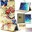 iPad Mini Case, Dteck(TM) Classic Retro Vintage Design PU Leather Magnetic Closure with [Auto Wake/Sleep Function] Flip Wallet Case for Apple iPad Mini 3/2/1 (06 Butterfly and Flower)