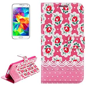 Crazy4Gadget Flower Pattern Protective Leather Case with Credit Card Slots & Holder for Samsung Galaxy S5 / G900