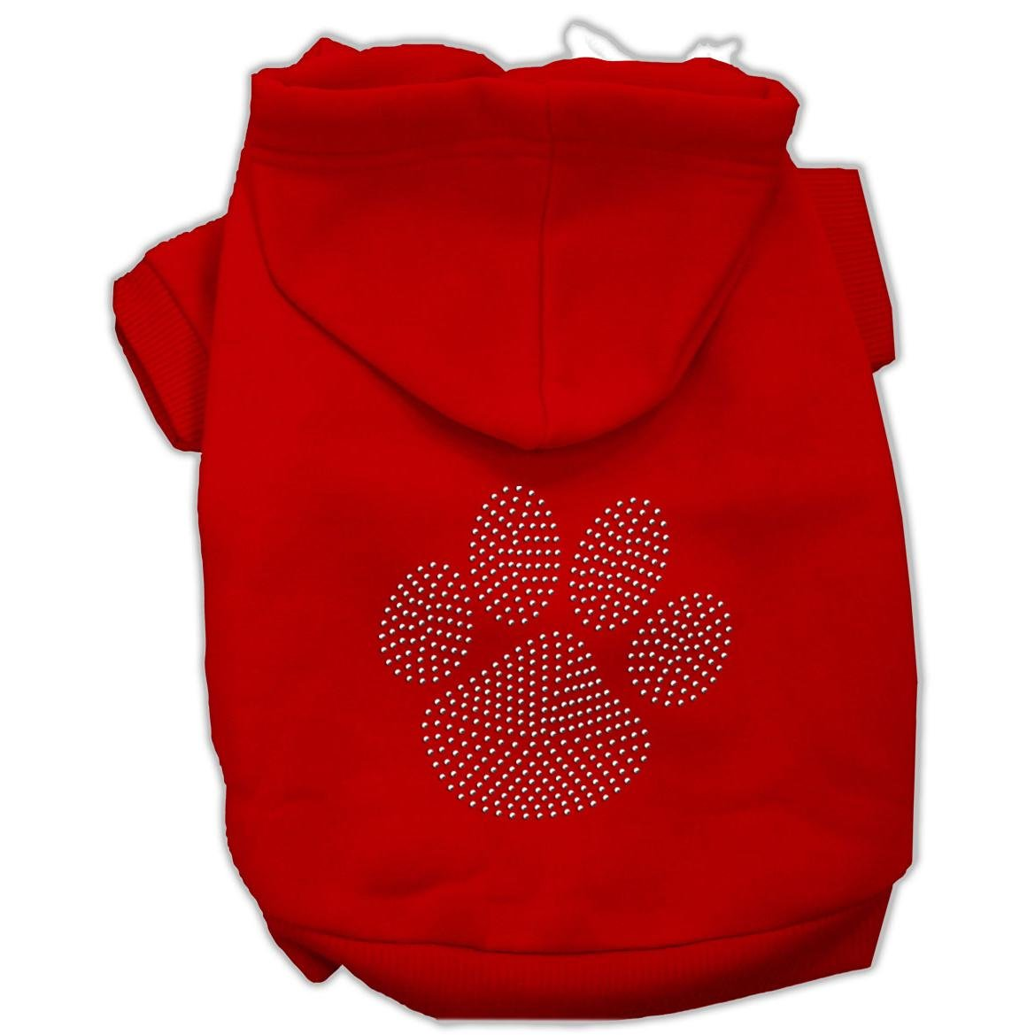 Clear Rhinestone Paw Hoodies Red XS (8) mirage pet products 20 inch patriotic star paw screen print shirts for pets 3x large white