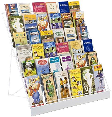 Displays2go Wire Countertop Literature Rack, 6-Tier Brochure Organizer, Open Shelf, White (WRC6T29WHT) (Book Display Stand Wire compare prices)