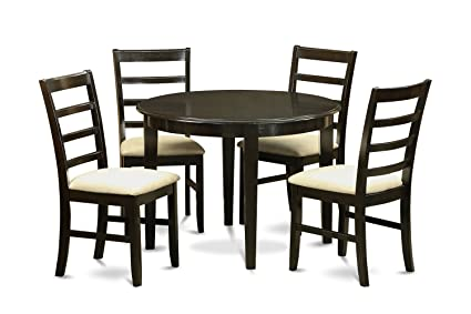 East West Furniture BOPF5-CAP-C 5-Piece Kitchen Table Set, Small, Cappuccino Finish