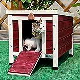 Petsfit kleine Kaninchenhütte, Katzenunterschlupf für draussen, hölzernes Meerschweinchenhaus, Farbe rot, 40cm x 50cm x 43cm -