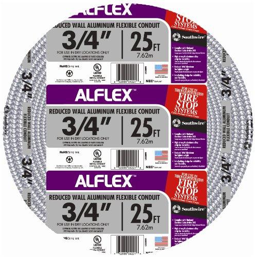 Southwire 55082321 25-Feet 3/4-Inch Alflex-Type RWA Reduced Wall Aluminum Flexible Metal Conduit