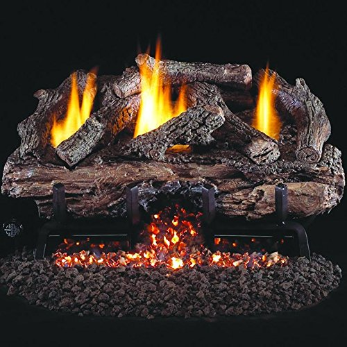 Peterson Real Fyre 18-inch Charred Aged Split Oak Log Set With Vent-free Natural Gas Ansi Certified G10 Burner - Variable Flame Remote (18 Ventless Gas Logs With Remote compare prices)