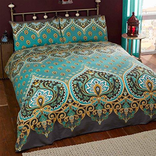 Just Contempo-Set copripiumino in stile marocchino, colore: verde foglia, doppio