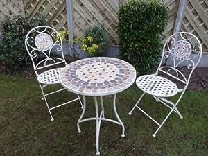 Uk Gardens 3 Piece Stylish Cream Metal Mosaic Bistro Set For 2 Quality Garden Patio Set For