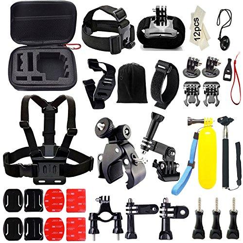 Iextreme 46-in-1 Zubehör Bundle Set für GoPro Hero 5/4/3+/3/2/1, Kamera Zubehör Kit für SJ4000/5000/6000 Xiaomi Yi, für Outdoor-Sport Fallschirmspringen, Schwimmen, Rudern, Surfen, Klettern, Laufen, Biking, Camping, Tauchen, Ausflug, Alle Outdoor-Sportarten