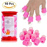 Tvoip 10 PCS Nail Soaker Cap for Acrylic Nail Remover, Gel Polish Nail Off Remover Cleaner Wrap Clip Cap Tool (Color: Pink)