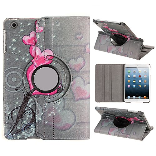 "UZZO?Case for iPad Mini 3,Cover for iPad Mini Case for ipad Mini with Retina Display Pink heart pattern Book style PU Leather 360 Rotating Case Cover for Apple iPad Mini 1 / 2 / 3 Retina Tablet Apple iPad Mini 7.9""+Free UZZO Logo Key Ring(Pink Heart )"