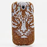 3D Luxury Swarovski Crystal Sparkle Diamond Bling Brown Silver Tiger Design Case Cover for Samsung Galaxy S4 S 4 IV i9500 fits Verizon, AT&T, T-mobile, Sprint and other Carriers (Handcrafted by BlingAngels®)