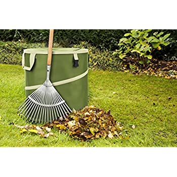 Vremi 30 Gallon Pop Up Garden Bag - Reusable Gardening Lawn and Leaf Bags - Collapsible Canvas Portable Yard Waste Bag with Drawstring Top - Green