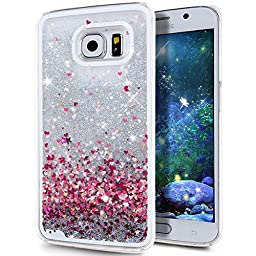 Galaxy S6 Case, ikasus Galaxy S6 [Liquid Bling] Case, Creative Design [Flowing Liquid] Floating Luxury Bling Glitter Sparkle Stars Hard Case for Samsung Galaxy S6,Silver Love Heart
