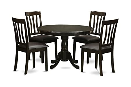East West Furniture HLAN5-CAP-LC 5-Piece Kitchen Table and Chairs Set, Cappuccino Finish