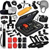 Xtech® GOPRO Hero TRAVEL and Hiking ACCESSORIES Kit for GoPro HERO4 SESSION, HERO4, Hero 4 3+ 3 2 1 Hero4 Hero3 Hero2, Hero 4 Silver, Hero 4 Black, Hero 3+ Hero3+ Hero 3 Silver, Hero 3 Black and for Travel, Traveling, Hiking, Climbing, Camping, Biking, Rappelling, Rock Climbing, Mountain Climbing, Wall Climbing and other Similar Sports Activities Includes: Head Strap Mount + Selfie Stick Monopod Pole + Helmet Harness Mount + Chest Strap Mount + Camera Wrist Mount + 2 J-Hooks + 3 Flat Adhesive Stickers + Flat Surface Mounts + 3 Curved Adhesive Stickers + Curved Surface Mounts + Remote Control Wrist Strap + Assorted Clips and Mounts + Memory Card Wallet Holder + Mini Table Tripod + Lens Cap Keeper + 2 Screen Protectors + 7 Piece Deluxe Cleaning Kit + Ultra Fine HeroFiber Cleaning Cloth