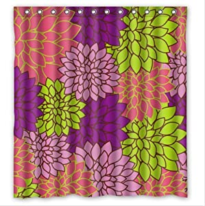 Beauty Purple Yellow And Pink Dahlia Floral PEVA Shower Curtain B