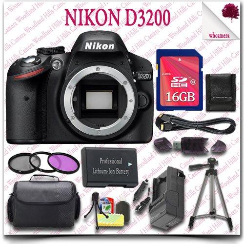 "Nikon D3200 Digital Slr Camera (Black) + 16Gb Sdhc Class 10 Card + 3Pc Filter Kit + Hdmi Cable + Slr Gadget Bag + 57"" Tripod 15Pc Nikon Saver Bundle"