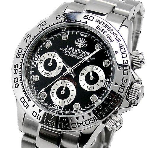 J.HARRISON(ジョンハリソン)天然ダイヤ入り・マルチカレンダー 機械式(自動巻き)腕時計(ブラック文字盤)JH-014DS