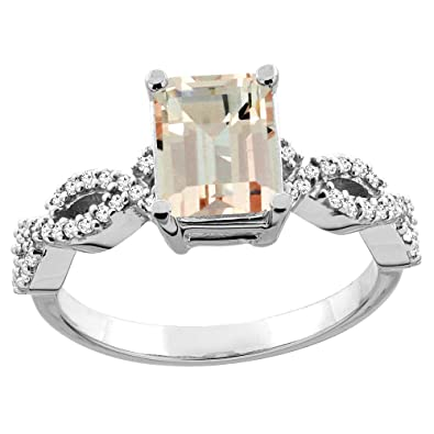 Revoni 14ct White/Yellow Gold Natural Morganite Eternity Ring Octagon 9x7mm Diamond Accent