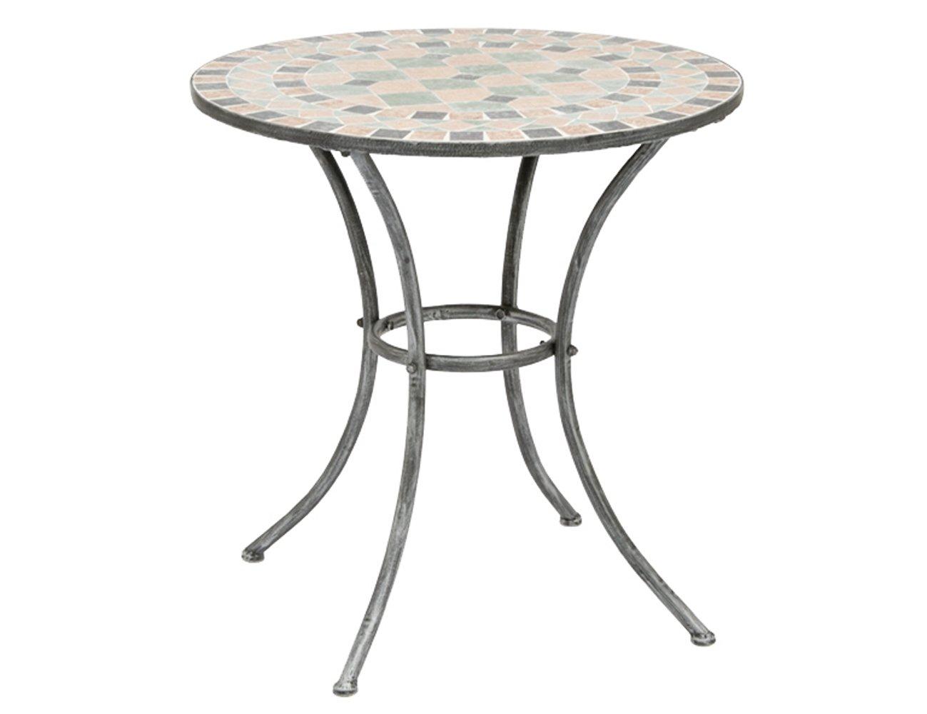 Siena Garden Tisch Fiore, Gestell silber-schwarz matt, Mosaikoptik in der Tischplatte, Ø 70 x H 71 cm günstig bestellen