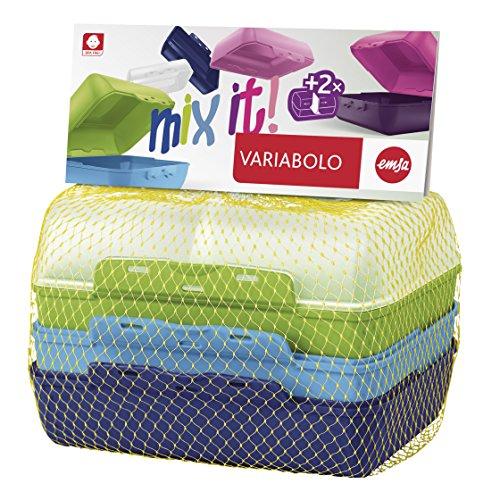 Emsa 517053 Variabolo Boîte-Repas pour Garçon Plastique Multicolore 18 x 18 x 12 cm Pack de 4