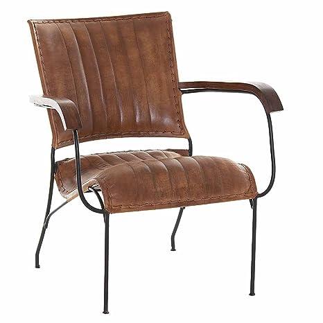 Sessel stapelbar Leder braun Eisengestell 66x76x72cm, SH 35cm - Modell Harvey