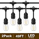 Svater 2 Pack S14 LED String Lights 49Ft Waterproof IP65 Commercial Grade Outdoor String Light UL Listed 15 Hanging Sockets 15 S14 2W LED Bulbs E26 Base Warm White 2700K Open-air party Patio (Color: 48FT S14 String Lights 2 Pack)