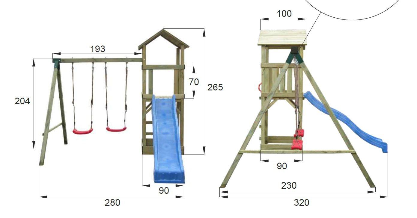 Spielturm mit Schaukel und Rutsche günstig kaufen