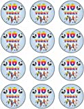 Birthday Boy Age 10 - 12 Football Style Edible Icing Fairy/Muffin Cake Toppers 55mm approx ea. Ideal for 10th Birthday Parties.