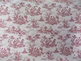 Vintage French Lovers Scenes Toile De Jouy Red Beige Cotton High Quality Fabric Material Sold By The Metre