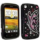 PINK BUTTERFLY PRINT ON BLACK DIAMOND HARD BLING GEM CASE COVER FOR HTC DESIRE C