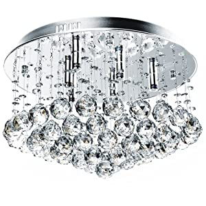 Jago DEKL05 Ceiling Light Droplet Hanging Crystal 6 Light Fixture by Jago