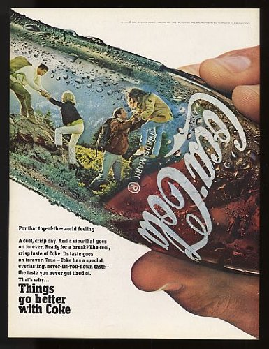 1968 Coke Coca-Cola Bottle Hiking Print Ad